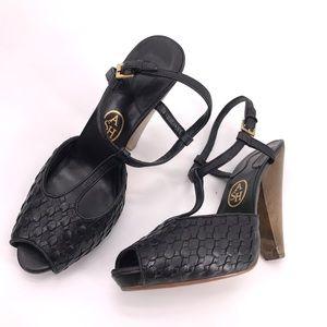 ASH Black Cone Heel Sandal Scales Texture Sz 40